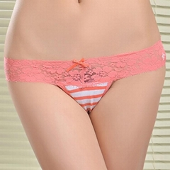 Wholesale sexy high cut lace waistband striped printed women underwear
