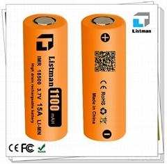 Hot selling listman 18500 3.7V 1100mAh rechargeable battery