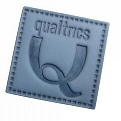 Custom embossing logo leather badge leather label