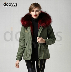 wine red big raccoon fur collar women fur parka