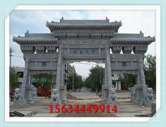 村口石牌坊图片 天然青石雕刻寺
