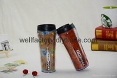 475ml starbucks style double wall plastic coffee mug