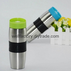 14 OZ double wall stainless steel vacuum flask with silicone