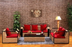 感享 客厅家具藤沙发茶几组合四件套 新古典沙发木扶手藤编椅