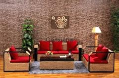 感享 客廳傢具藤沙發茶几組合四件套 新古典沙發木扶手藤編椅