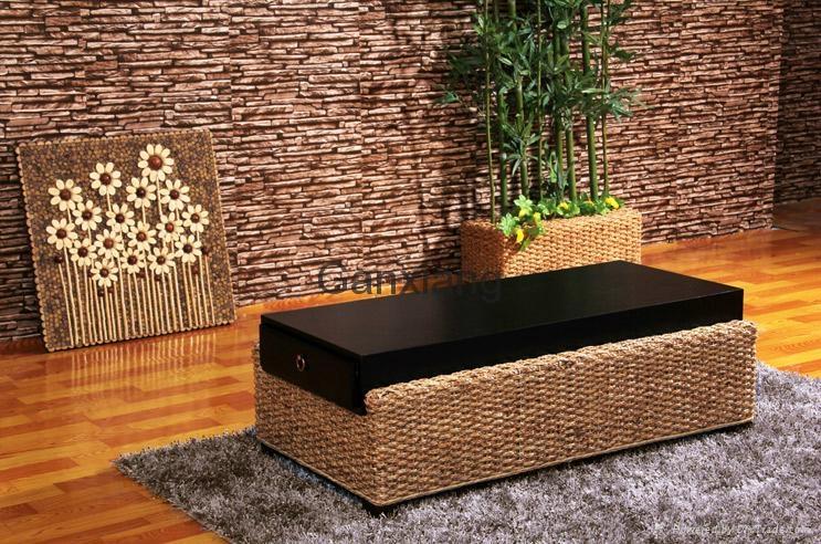 感享 客厅家具藤沙发茶几组合四件套 新古典沙发木扶手藤编椅 5