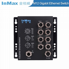 EN50155 M508B 24V 8 Port M12 Railway Gigabit Industrial Ethernet Switch