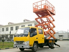 car-carring   scissor Street lights maintenance lift