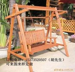 遊樂場實木鞦韆椅