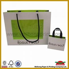 paper gift bag with custom logo printing and ribbon handle