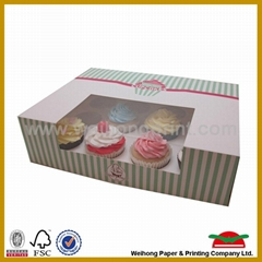 foldable paper box with PVC window for cake