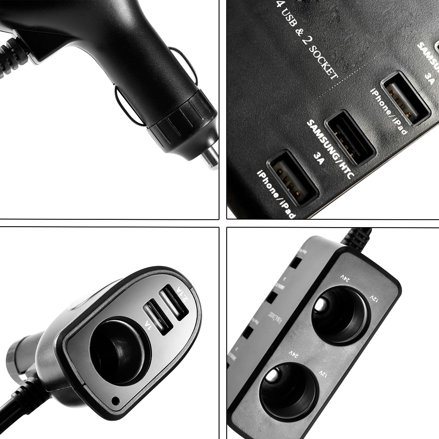 9.1A/45.5W USB Car Charger with 6 USB and 3 sockets car splitter adapter  2