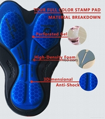 cycling pad with gel of stamp blue for cycling wear bib
