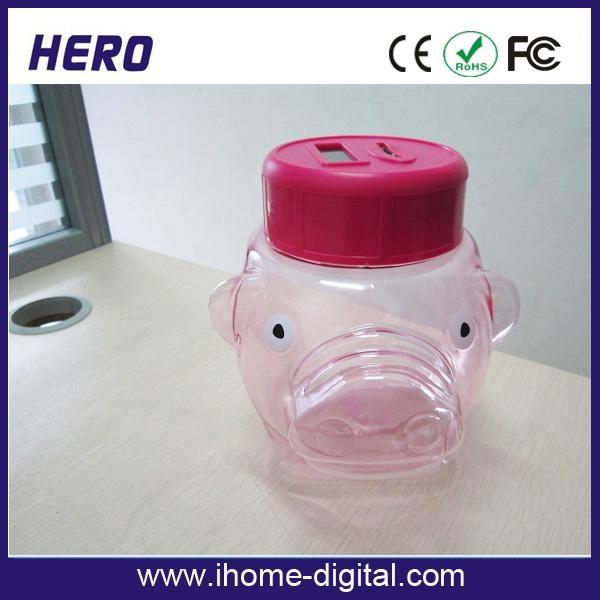 Plastic piggy bank coin bank