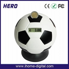football shape coin bank with coin counter