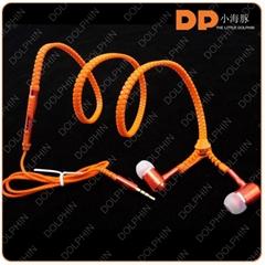 2016 hot sale oem cheap metal zipper earphone from in-ear zip earphone factory