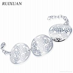 Vintage style silver stainless steel chian bracelet for women