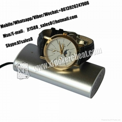 XF New Design Poker Scanner Leather Watch Camera With Power Bank