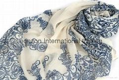 navy print  fashion pattern in viscose