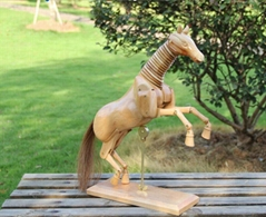 New Design customized Colorful moveable wooden Horse with holder