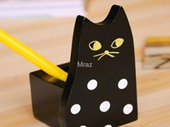 Wooden Black Cat Pencil Vase