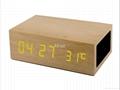 Natural Wooden LED Screen Alarm Bluetooth Speaker  4