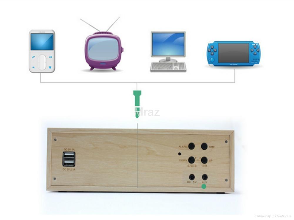 Natural Wooden LED Screen Alarm Bluetooth Speaker  5