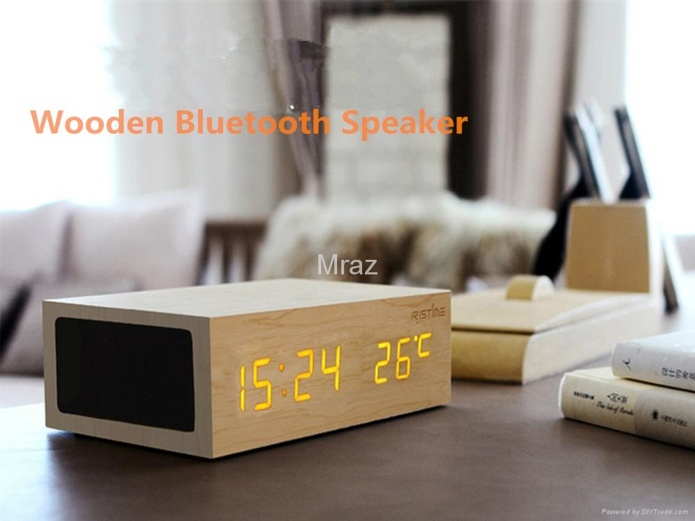Natural Wooden LED Screen Alarm Bluetooth Speaker  6
