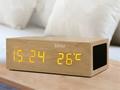 Natural Wooden LED Screen Alarm Bluetooth Speaker  9
