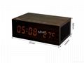 Natural Wooden LED Screen Alarm Bluetooth Speaker  10