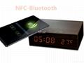 Natural Wooden LED Screen Alarm Bluetooth Speaker  11