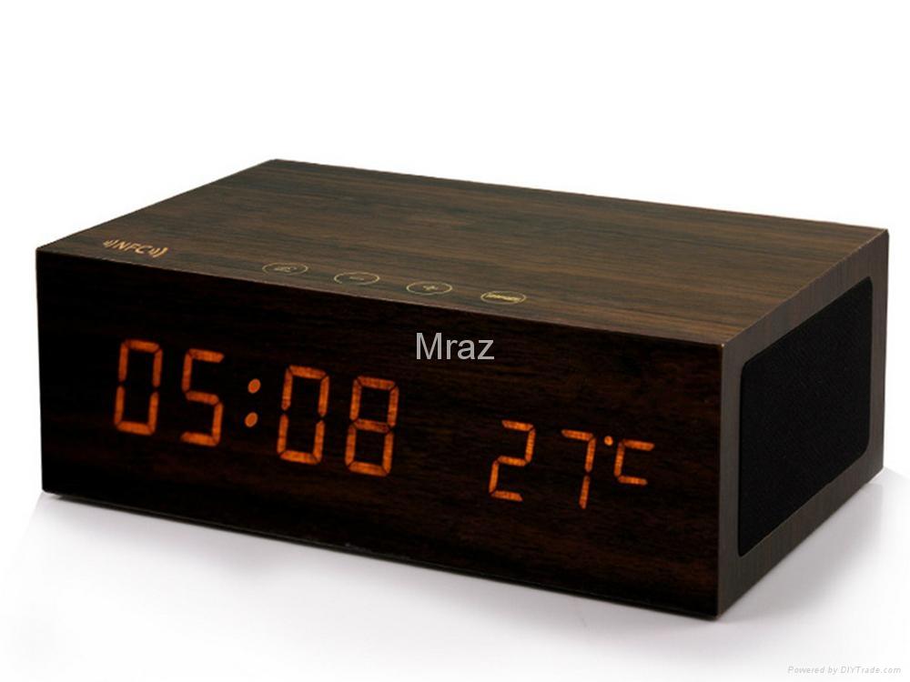 Natural Wooden LED Screen Alarm Bluetooth Speaker  12
