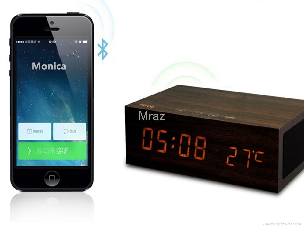 Natural Wooden LED Screen Alarm Bluetooth Speaker  13