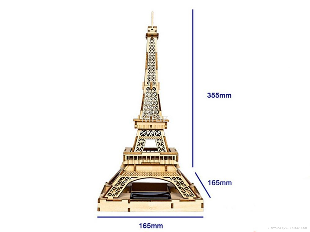 3D DIY Puzzle Wooden Eiffel Tower Model With Solar Energy 3