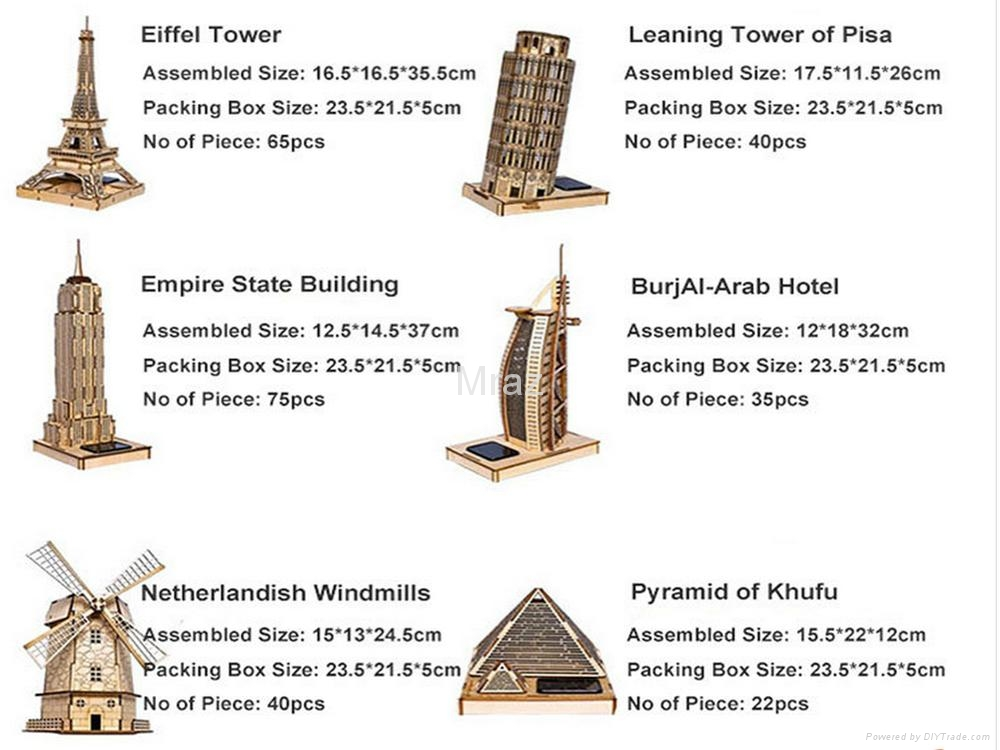 3D DIY Puzzle Wooden Eiffel Tower Model With Solar Energy 5