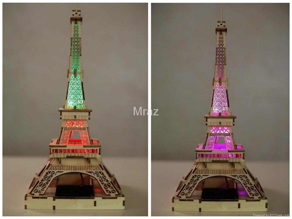 3D DIY Puzzle Wooden Eiffel Tower Model With Solar Energy 7