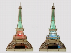 3D DIY Puzzle Wooden Eiffel Tower Model With Solar Energy