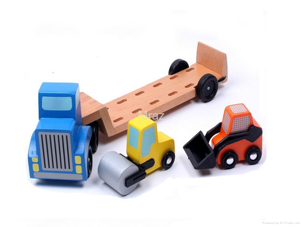 Wooden Simulation Engineering Transport Truck Toy  3