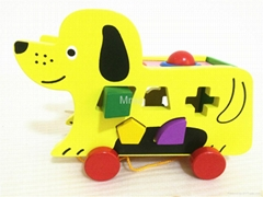 Wooden Dog Shape Knocks The Ball Toys Car