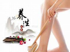 Natural Bristle Long & Detachable Handle Bath Body Brush