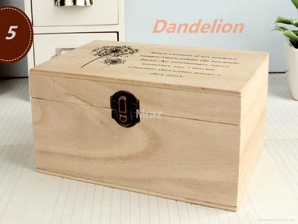Retro Style Wooden Jewelry Box with Dandelion 4