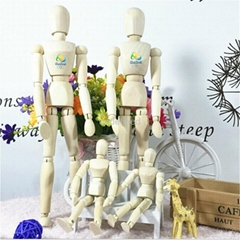Colorful 12inch wooden manikin toys for sale