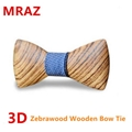 MBT216 New Design fashion 3D customized redwood wooden bow tie for wedding  2
