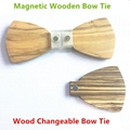 MBT5001 New Design fashion magnetic customized wooden bow tie for man's suit