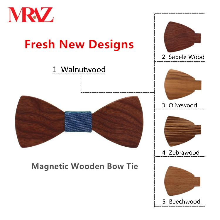 MBT5001 New Design fashion magnetic customized wooden bow tie for man's suit 1