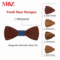 MBT5001 New Design fashion magnetic customized wooden bow tie for man's suit (Hot Product - 1*)