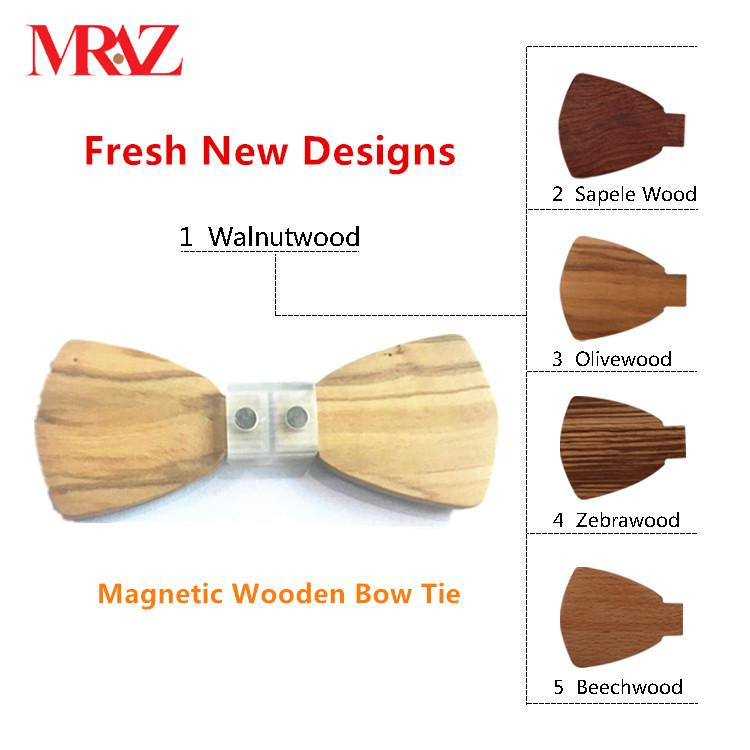 MBT5001 New Design fashion magnetic customized wooden bow tie for man's suit 3