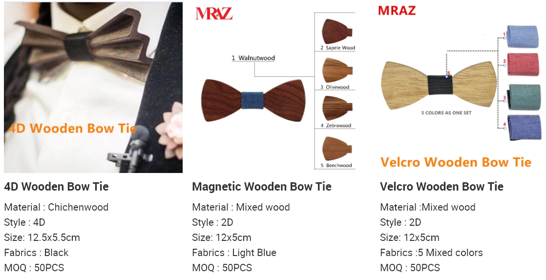 MBT5001 New Design fashion magnetic customized wooden bow tie for man's suit 6
