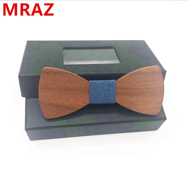 Discount fashion customized wooden bow tie for wedding 1
