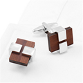 Fashion cheap handmade wooden metal cufflinks for men